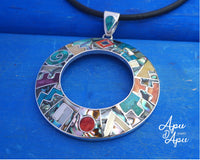 large round inca calendar pendant necklace