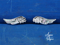 angel wings earrings, silver earrings peru