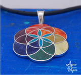 flower of life pendant necklace, handmade peruvian silver jewelry