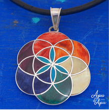 Load image into Gallery viewer, flower of life pendant neckace, silver with colorful stones