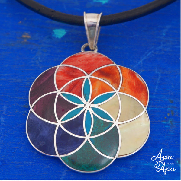 flower of life pendant neckace, silver with colorful stones