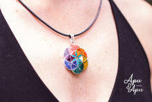 Load image into Gallery viewer, flower of life with 7 chakra colors stones silver pendant necklace