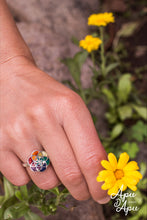 Load image into Gallery viewer, flower of life silver ring with 7 chakra colors sacred geometry