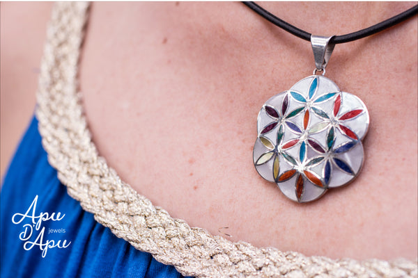 flower of life 7 chakra stone 950 silver