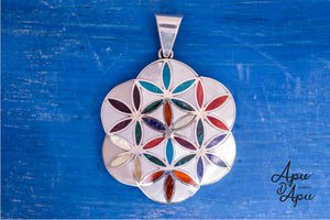 flower of life with kundalini on back, peruvian silver jewelry