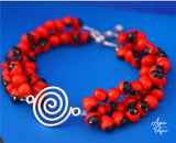 huayruro red black seeds bracelet with silver - must have eco friendly jewelry