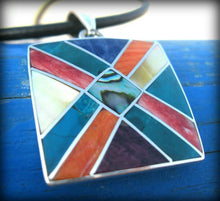 Load image into Gallery viewer, ethnic peruvian style pendant necklace for man tribal neoethnic gypsie jewelry square peruvian pendant silver spiritual inca pendant peru