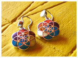 flower of life silver dangle drop earrings with 7 chakra colors - Peru