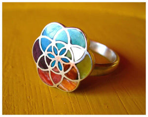 7 chakra flower of life adjustable silver ring