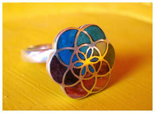 Load image into Gallery viewer, flower of life silver ring with 7 chakra of yoga