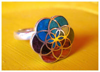 flower of life silver ring with 7 chakra of yoga