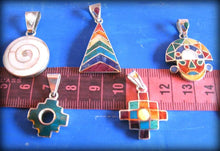 Load image into Gallery viewer, small peruvian inca pendants - silver inlay