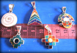 small peruvian inca pendants - silver inlay