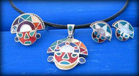 tumi pendant silver inlay - peruvian symbol necklace - Peru jewelry