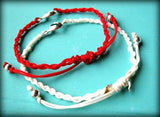 2 bracelets with heart, red and white, sweet teens jewelry