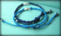 2 bracelets with heart, blue and turquoise, sweet teens jewelry