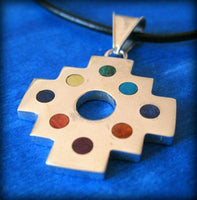 chakana andean cross pendant silver with dots