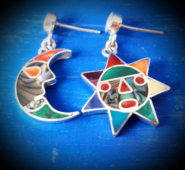 mismatched sun and moon earrings peruvian silver inca earrings asymmetrical nature thamed earrings one of a kind proposal gift crescent moon