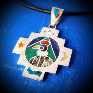 condor spirit chakana pendant for man - mountain jewelry from Peruvian Andes