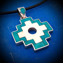 Load image into Gallery viewer, inca cross silver necklace, turquoise inlay, your pendant from Cusco Peru