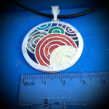 Load image into Gallery viewer, 7 colors pachamama pendant silver, Inca symbol Peru