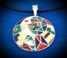 Load image into Gallery viewer, inca calendar with sun moon in love peruvian silver pendant necklace