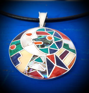 inca calendar with sun moon in love peruvian silver pendant necklace