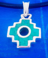 small chakana reversible 950 silver and green chrysocolla