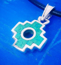 Load image into Gallery viewer, mini chakana 2 in 1 pendant necklace silver inlay peru