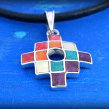 Load image into Gallery viewer, small inca cross chakana pendant silver, colorful chacana pendant Peru