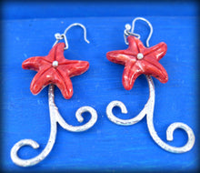 Load image into Gallery viewer, red sea star coral and silver romantic earrings