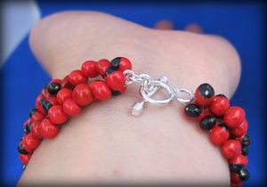huayruro red black bracelet silver, peruvian pachamama eco friendly