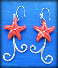 Load image into Gallery viewer, red starfish earrings, sea star earrings, best marine life jewelry