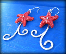 Load image into Gallery viewer, ocean earrings, red starfish earrings for sailor
