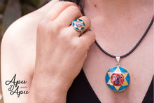 Load image into Gallery viewer, Peruvian Inca Sun God face, silver inlay in ring and pendant necklace