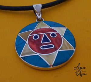 large sun face pendant necklace