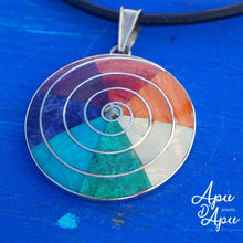 Load image into Gallery viewer, pachamama pendant necklace in silver with 7 chakra colors,  from Peru