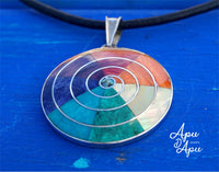 7 colors pachamama pendant necklac 7 chakra stones e 950 silver from Peru