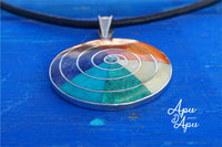 pachamama pendant with 7 chakra colors, 950 silver, inca jewelry