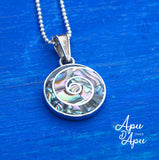 pachamama pendant small necklace silver abalone
