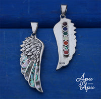 angel wing pendant , feather pendant silver inlay, valentines for him