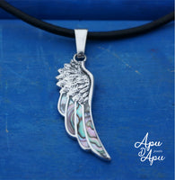 angel wing pendant, silver feather necklace