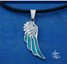 Load image into Gallery viewer, angel wing pendant , feather pendant silver inlay, valentines