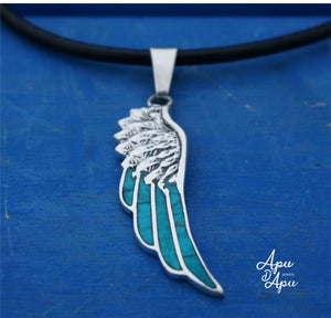 angel wing pendant , feather pendant silver inlay, valentines