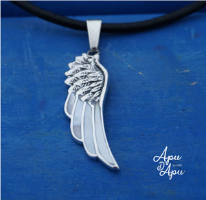angel wing pendant necklace, white feather pendant silver