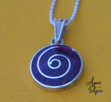 Load image into Gallery viewer, small purple spiritual pendant necklace silver