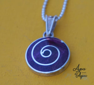 small purple spiritual pendant necklace silver