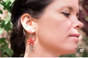 unique star fish earrings, mermaid style silver and coral jewelry