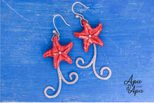 Load image into Gallery viewer, unique red starfish earrings silver handmade
