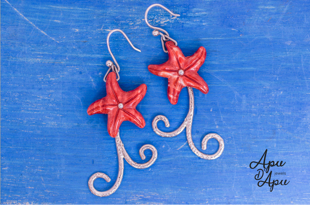 unique red starfish earrings silver handmade